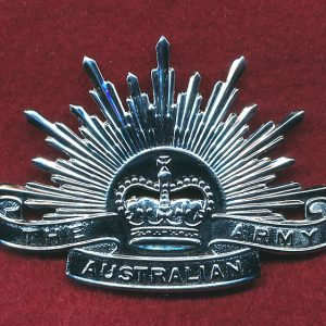 "Hat Badge - G.S Rising Sun ""ARMY"" (Chrome/Buckle)"